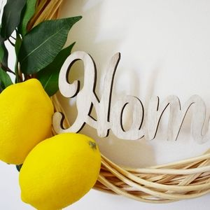 """Stitches & Bolts Accents - 12"""" Willow Lemon """"Home"""" Wreath"""
